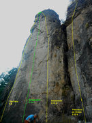 Rock Climbing Photo: 2nd route from the left. right in the middle of th...