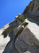 Rock Climbing Photo: Looking up at the second pitch with the crux right...
