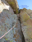 Rock Climbing Photo: Looking up at the third pitch, you can see the rop...