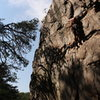 Middle Finger Backside<br> <br> Pleasant Dreams (5.8)mixed<br> <br> Crowders Mountain State Park, North Carolina