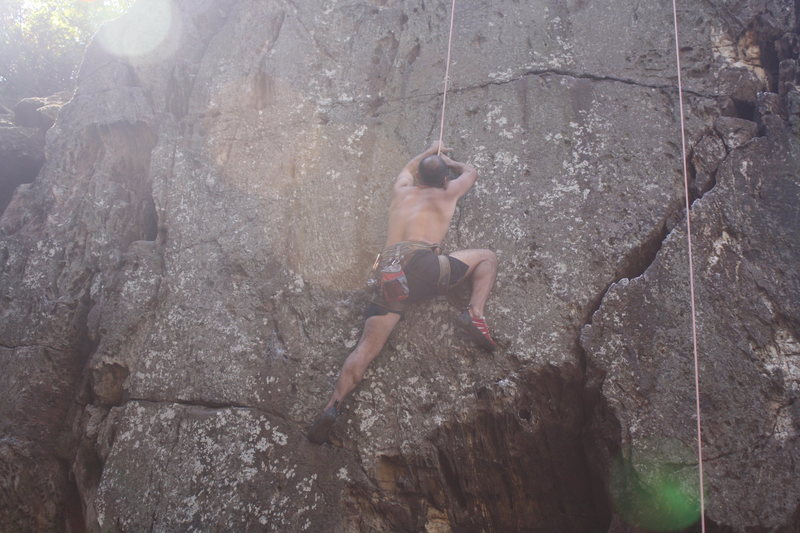 The Fortress<br> <br> Fortress Direct(5.10+)Tope Rope<br> <br> Crowders Mountain State Park, North Carolina