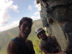 Rock Climbing Photo: John and I at the First belay ledge!