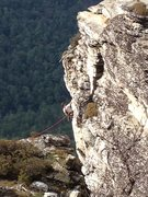 Rock Climbing Photo: Mike Holley Pulling the roof on the last pitch of ...