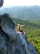 Rock Climbing Photo: Jessica Rau nearing the top of the first pitch!! S...