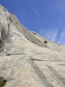 Rock Climbing Photo: Mike HOlley starting off the crux pitch (bolted)
