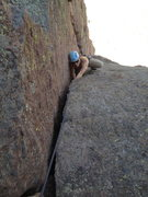 Rock Climbing Photo: Lucas getting into the OW on Moscow