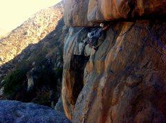 Rock Climbing Photo: 1/4 thru on a right-to-left traverse