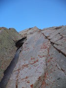 Rock Climbing Photo: Pitch 2 chimney on left, with the crux traverse in...