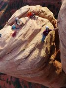 Rock Climbing Photo: Nathan Kalish leading the step across pitch with h...
