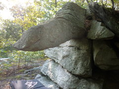 "What I've been calling the ""Star Destroyer"" boulder, it's got a great starting jug that i've put up a short 3 move campus start on, as well as a traverse starting from the same point."