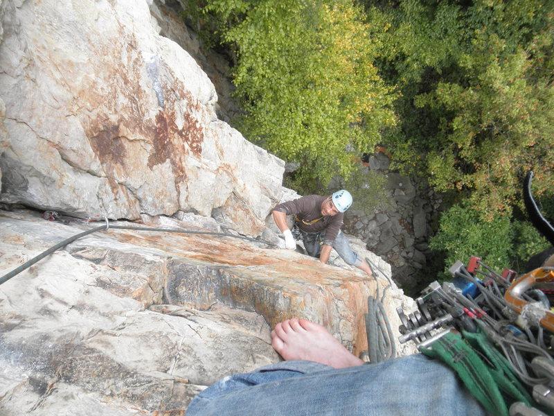 Rock Climbing Photo: first pitch of sixth sense 5.10a, seneca rocks-wv