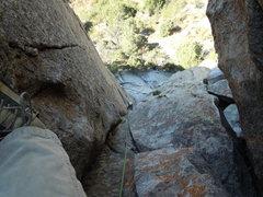 Rock Climbing Photo: Sandy following Coyote Corner