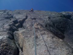 Rock Climbing Photo: The 5.8 crack is the left leaning system.  Freeway...