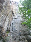 Rock Climbing Photo: Christopher Lane heading onto Buttress from the le...