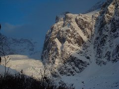 Rock Climbing Photo: The northwest face of Yukla. Three lines have been...