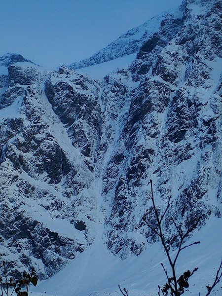 Rock Climbing Photo: Close up of northwest face in snowy conditions