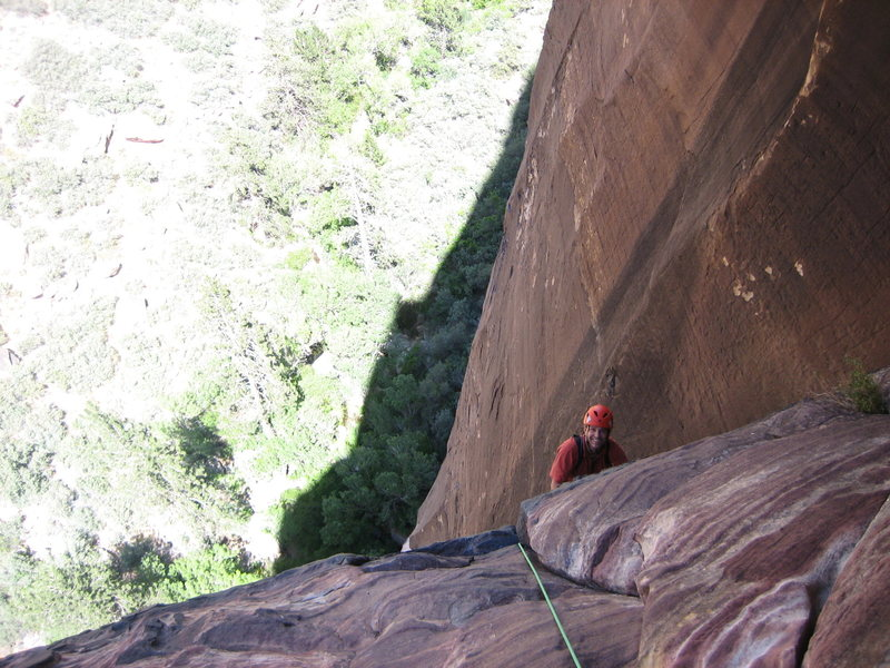Rock Climbing Photo: Christpher Lane topping off at the top of the 4th ...
