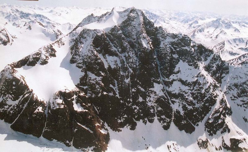 Rock Climbing Photo: Aerial view of the north face of Yukla. The Barano...