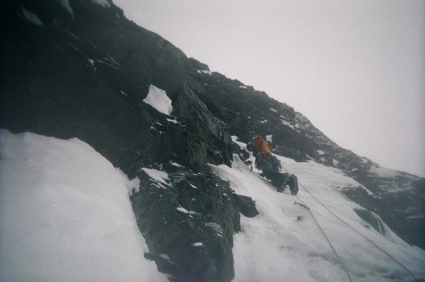 The first belayed pitch on the route.