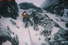 Rock Climbing Photo: Moderate ice climbing on the route. Photo by John ...