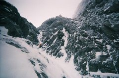 Rock Climbing Photo: Excellent ice runnel on Gank'd and Slayed. Photo b...