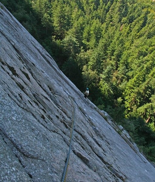 Rock Climbing Photo: belay at top of Pitch 1, and view of Pitch 2