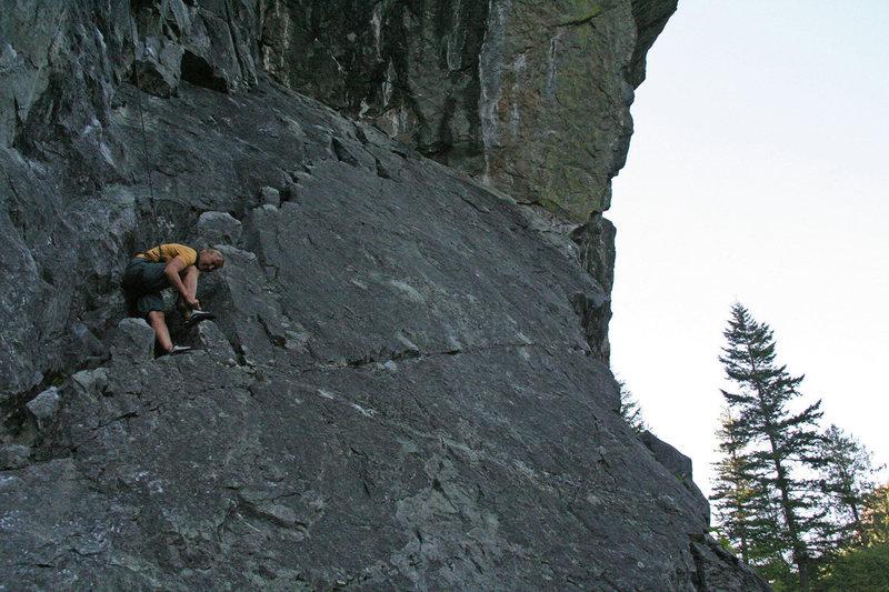 Up slab at start of climb