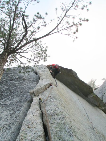Jonny about to pull the roof- <br> <br> (Climbing in the clouds on 9/11/12)