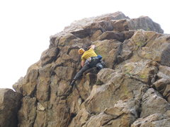 Rock Climbing Photo: Nearing the last few moves to the bolts on Schwepp...