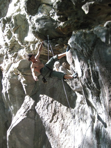 Rock Climbing Photo: Sylvain relaxing after the tricky start. Dreaded m...
