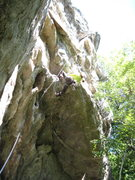 Rock Climbing Photo: Maryne getting into the crux.