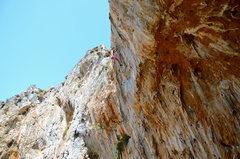 Rock Climbing Photo: Nearing the sharp, crimpy top crux of Raptor