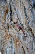 Rock Climbing Photo: Owen pulling into the crux of Kulturistica