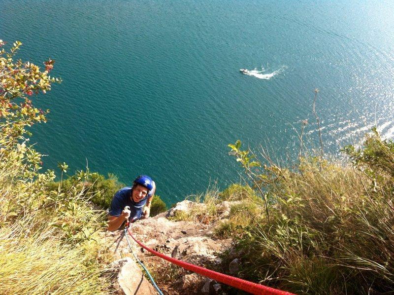 Finishing P2, lake down below.