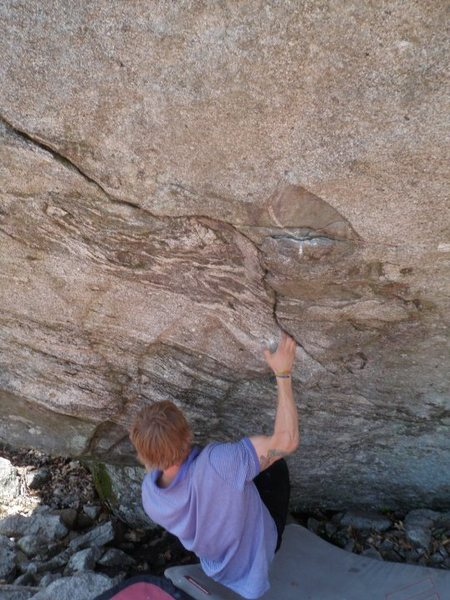 Rock Climbing Photo: Grady on an unknown boulder problem just below the...