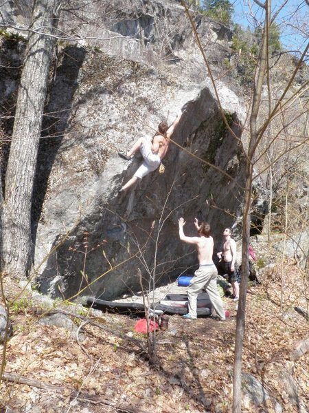 Rock Climbing Photo: Brett Cary on a classic arete in the Shagg boulder...
