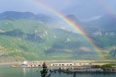 Rock Climbing Photo: Rainbow over Howe sound, from Campground