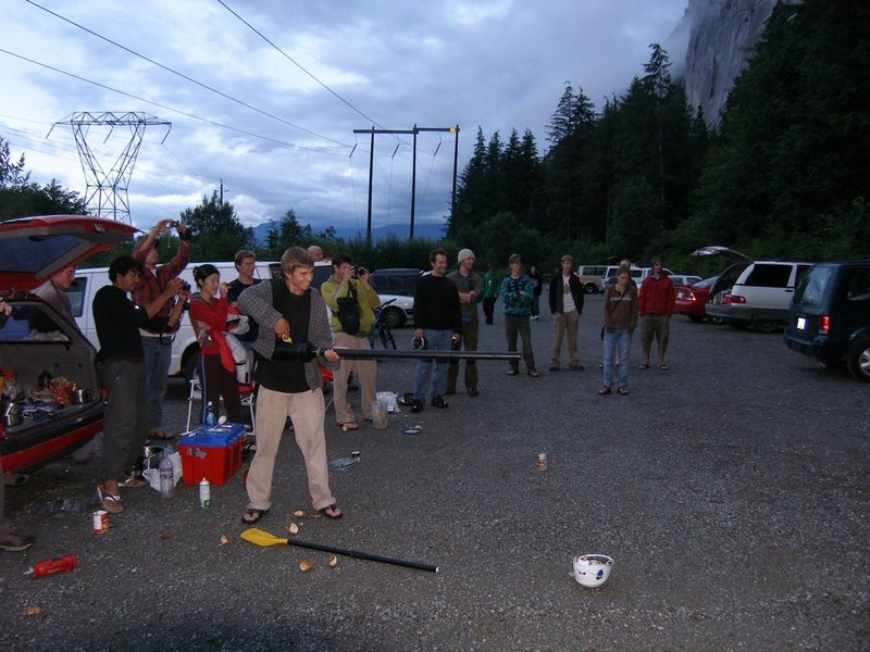 Rock Climbing Photo: Parking lot games: shooting the lucky climber with...