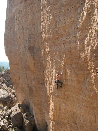 Rock Climbing Photo: Lawrence in the crux section of Joy of Heresy.