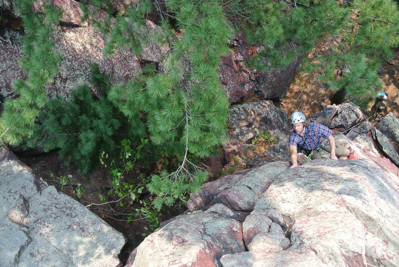 "Rock Climbing Photo: Steve Zaleski mid crux of ""False Alarm Jam&qu..."