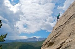 my friend Kate Sawford climbing in the Jurassic Park area, Rocky Mountain National Park, CO (unknown route name)