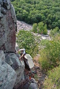 Rock Climbing Photo: Mike Sohasky on Double Overhang.  One  o-hang down...