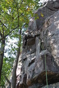 Rock Climbing Photo: Mike Sohasky fights to beat out the 5.7 DL pump th...