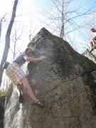 Rock Climbing Photo: Brandon Morey pulling some higher moves on Slabado...