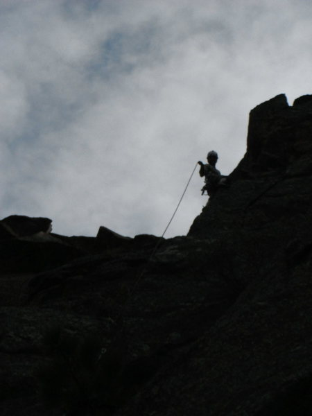 Rock Climbing Photo: Running it out on the splitter double cracks.