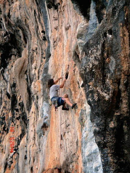 Mark Miner on lower crux of Touch Of Grey