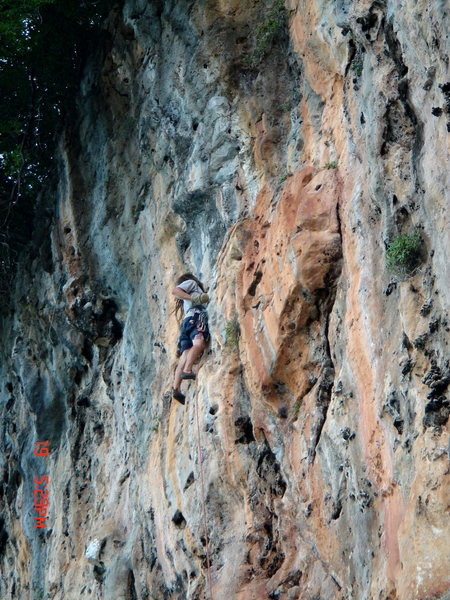Rock Climbing Photo: M. Miner just above the bulging crux of Touch Of G...