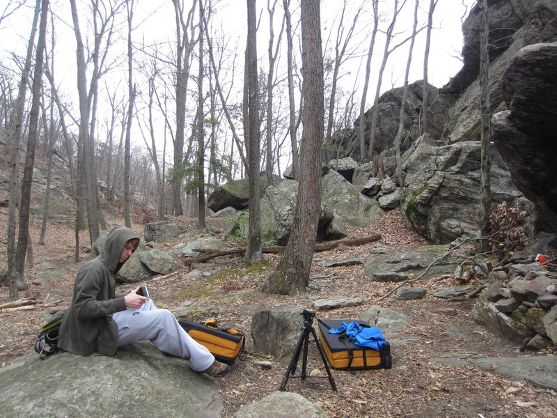 Rock Climbing Photo: Schuyler setting up on a chilly morning.