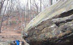Rock Climbing Photo: Flamer (V1) on left, Spiderman Cave (V5) begins to...