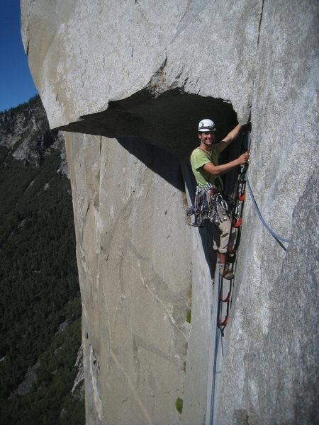 Rock Climbing Photo: Seth jugging great roof